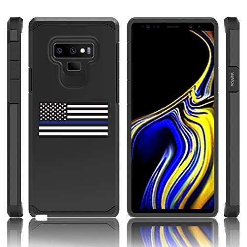 Shockproof Impact Hard Soft Case Cover for Samsung Galaxy (Note 9) American Flag Blue Line Police (Black)