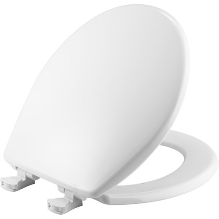 Mayfair Easy•Clean Round Solid Plastic Toilet Seat in White with - Plastic Toilet Seat