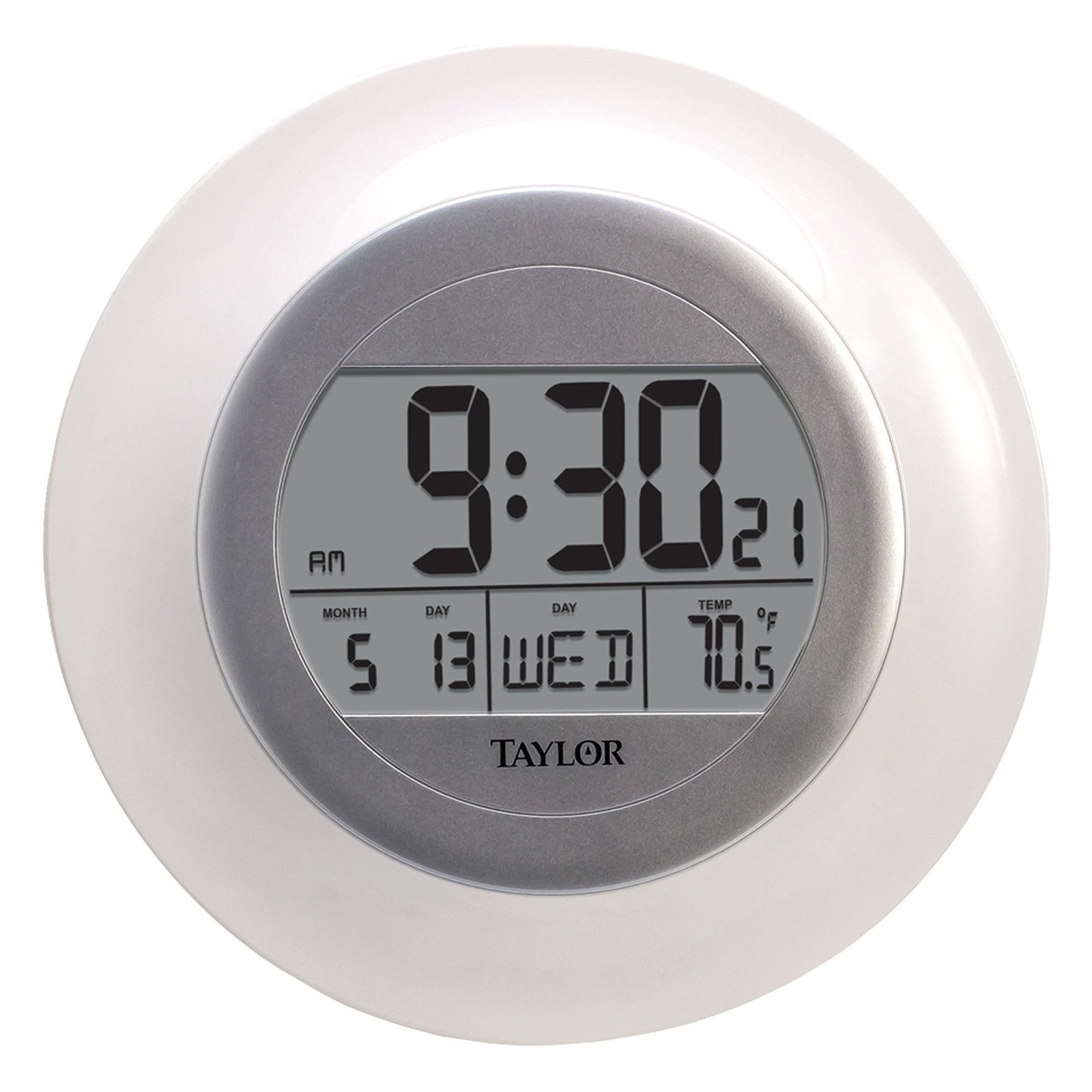 Taylor 1750 Atomic White Wall Clock with Thermometer