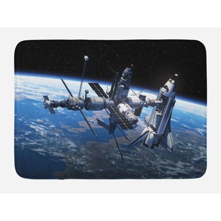 Outer Space Bath Mat Space Shuttle And Station View