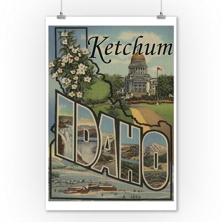 Ketchum, Idaho - Large Letter Scenes (9x12 Art Print, Wall Decor Travel Poster)