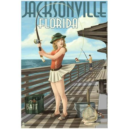 Jacksonville, Florida - Fishing Pinup Girl Poster - 13x19 (Halloween Jacksonville Florida)