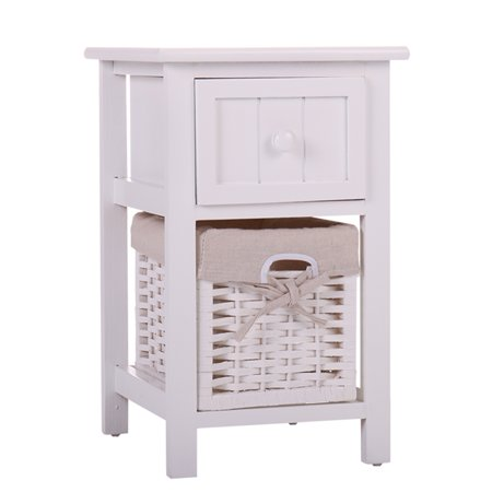 White Chic Nightstand Wood End Side Table Bedroom Home Storage Furniture w/ 1 Wicker Basket ()