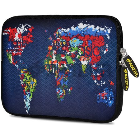 Designer Universal 10.5 Inch Neoprene Sleeve Pouch for Apple iPad 9.7 iPad Air 1 2 iPad Pro 9.7  - Worldwide Map (Fit with Smart Folio Skin TPU