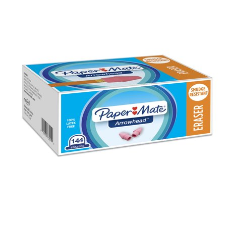 Paper Mate Arrowhead Eraser Caps, 144/Box Arrowhead Pencil Cap Erasers