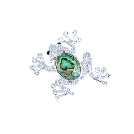 Silver Tone Green Abalone Shell Body Jumping Sparkling Rhinestone Frog (Tone Frog Pendant)