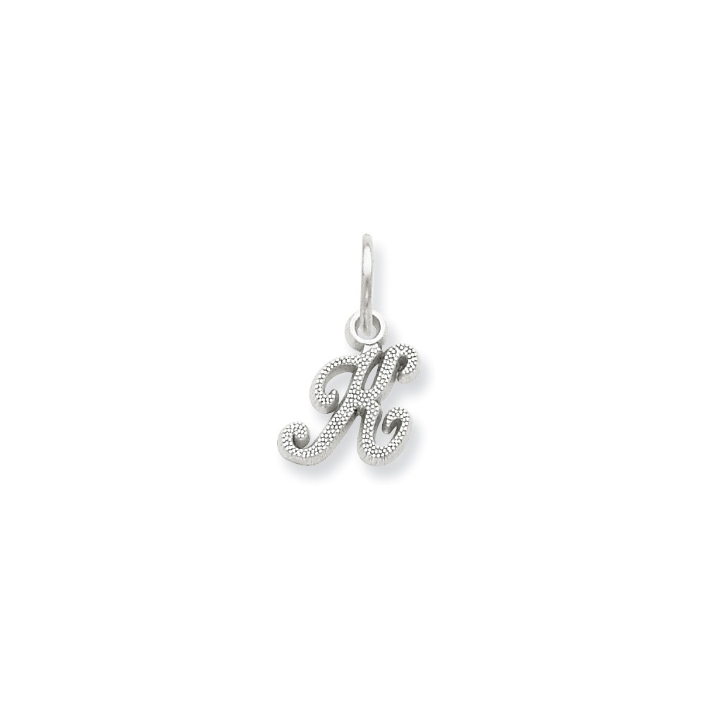 14k White Gold Casted Initial K Charm (0.6in long x 0.4in wide)