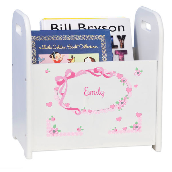 Personalized Pink Bow White Book Caddy and Rack