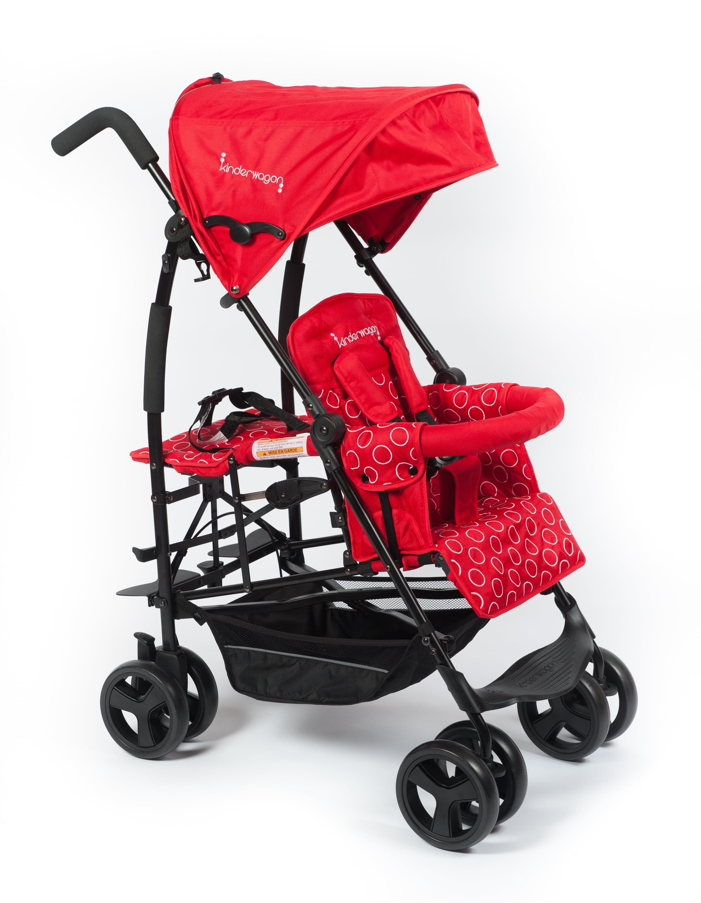 Kinderwagon Jump Tandem Umbrella Stroller with Platform Seat Red by Kinderwagon