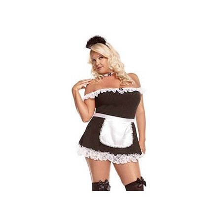 Elegant Moments French Maid Costume 9395X Black/White 3X/4X, 3X/4X (Dead French Maid Halloween Costume)