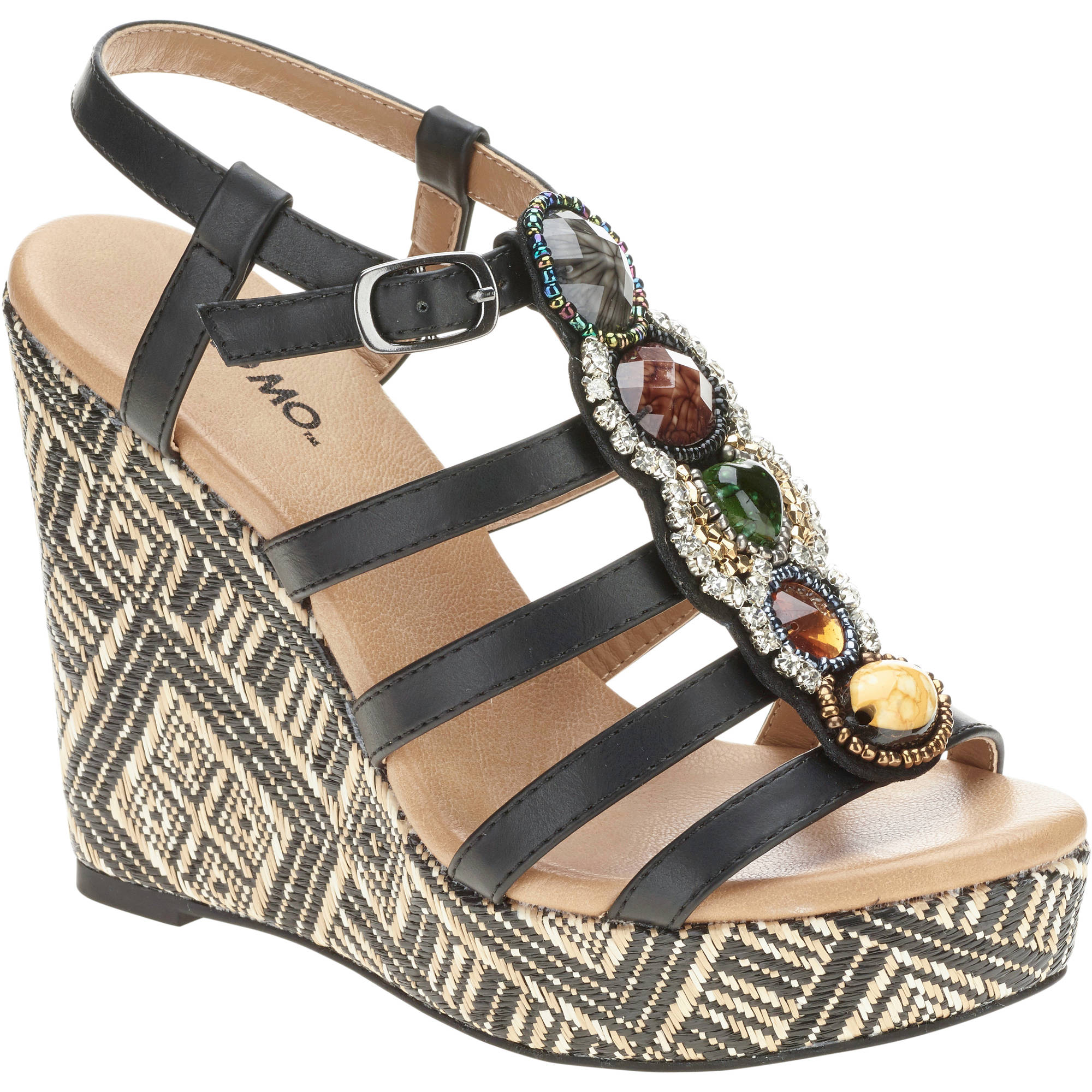 Mo Mo Women's Cabana Jeweled Wrapped Wedge Sandal