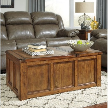 Ashley tamonie rectangular lift top coffee table in medium for Meuble ashley circulaire