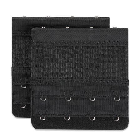 Unique BargainsWoman Dual Row 4Hooks Stretch Bra Strap Back Band Extension Extenders Black 2pcs