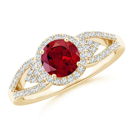 Valentine Jewelry Gift - Split Shank Round Garnet Halo Ring with Cluster Diamonds in 14K Yellow Gold (6mm Garnet) - SR1089GD-YG-AAAA-6-12