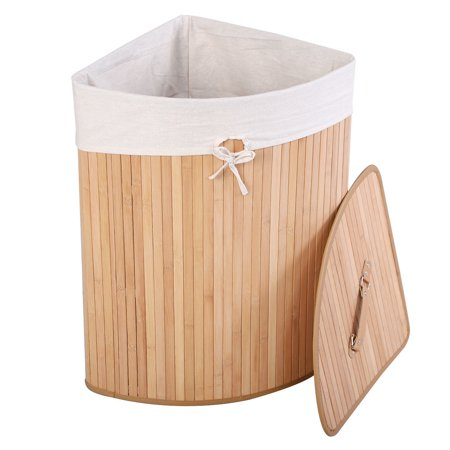 Goplus Corner Bamboo Washing Cloth Hamper Laundry Basket Bin Storage Bag Lid (Corner Hamper Basket)