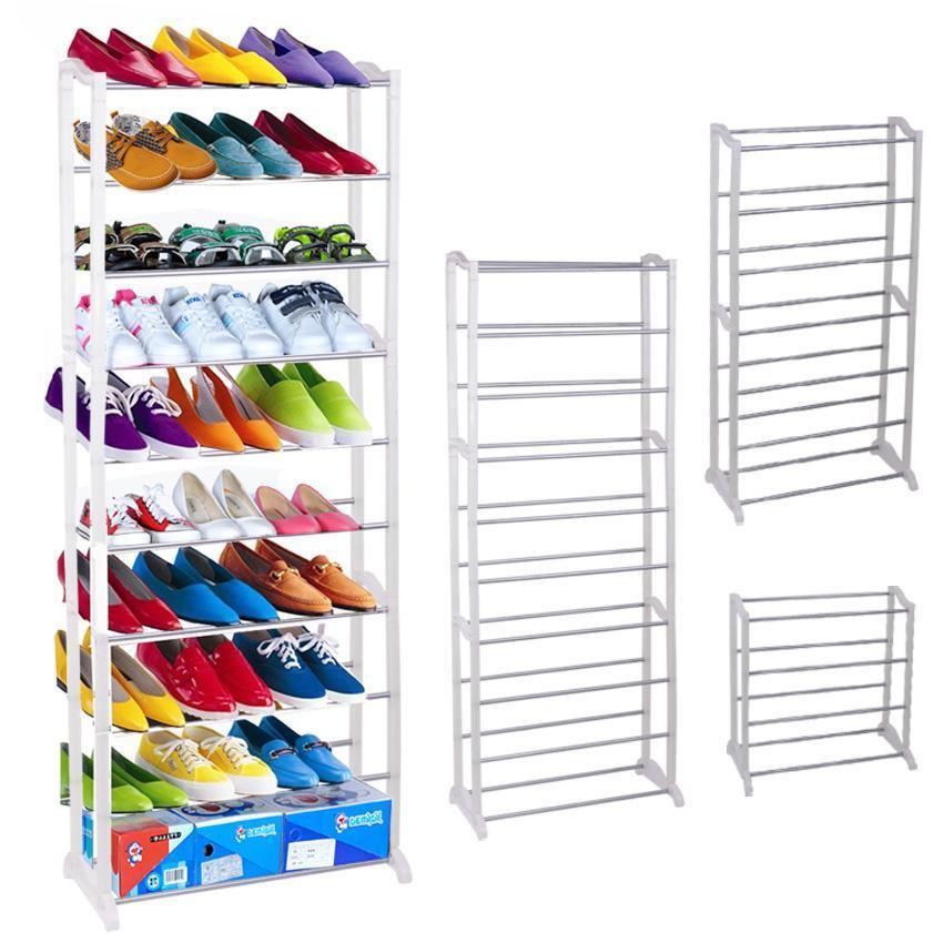 30 Pair Shoe Rack, 10 Tier Tower Rack Stand Space Saving Storage Organizer  White