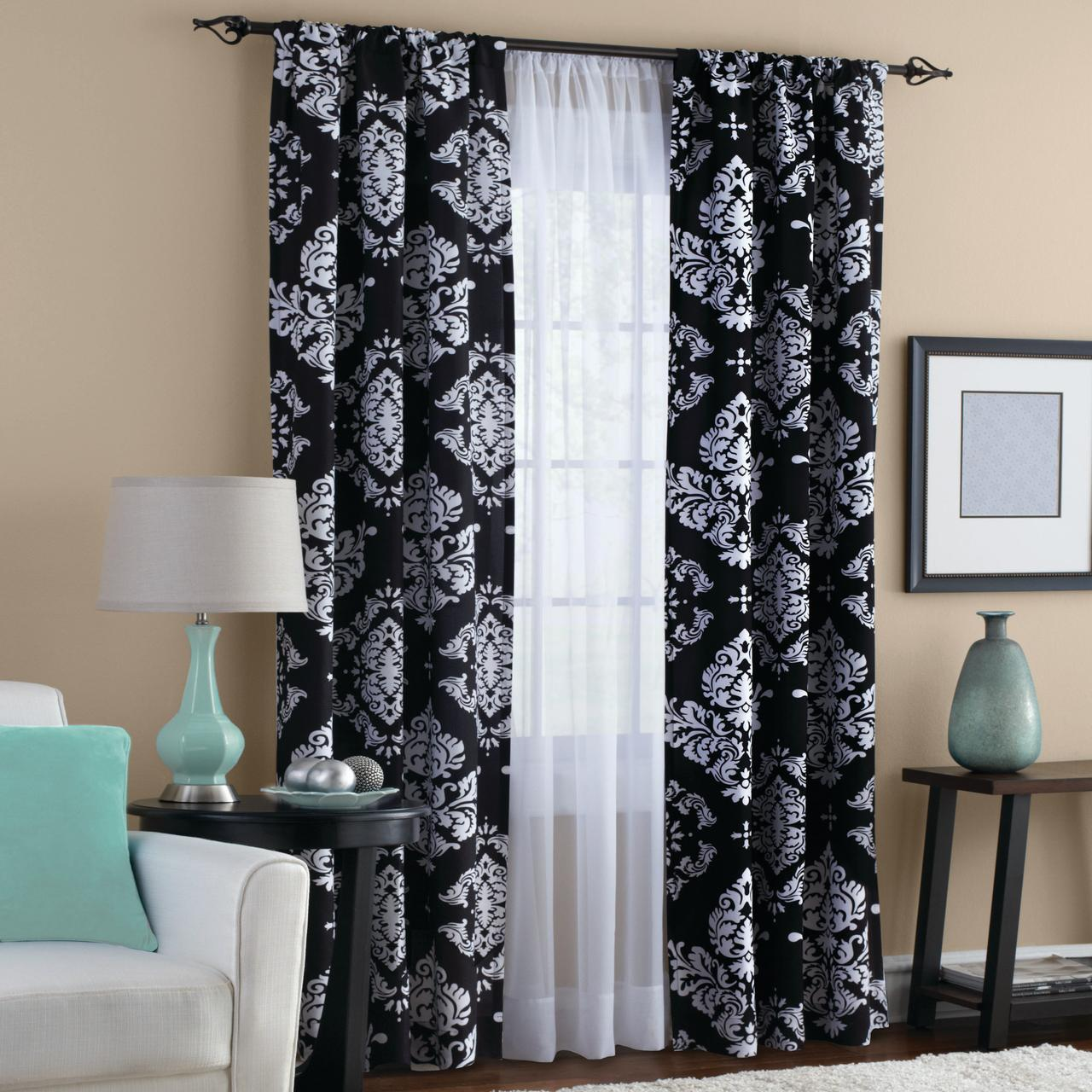 Mainstays Classic Noir Window Curtains, Set Of 2