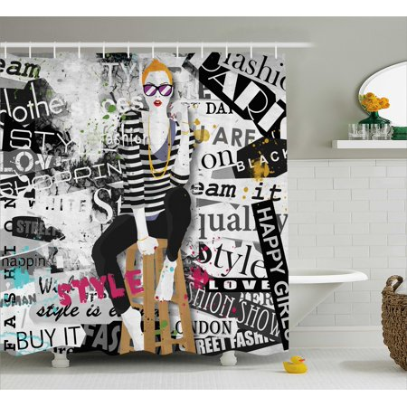 Girls Shower Curtain, Model Posing and Sitting on Tabouret with Clothes Grunge Street Style Print, Fabric Bathroom Set with Hooks, Black and White, by (Model Home Bathroom)