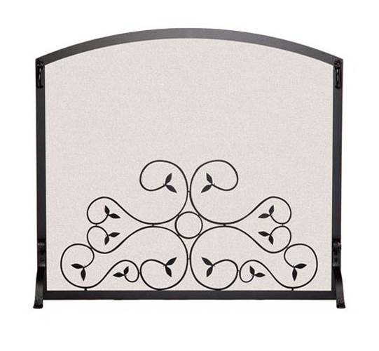 Arched Scroll Fireplace Screen (44 in. L x 34 in. H (26 lbs.) - Vintage Iron)