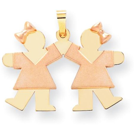 14K Two Tone Gold The Kids Small Double Girls (Two Tone Small Girl)