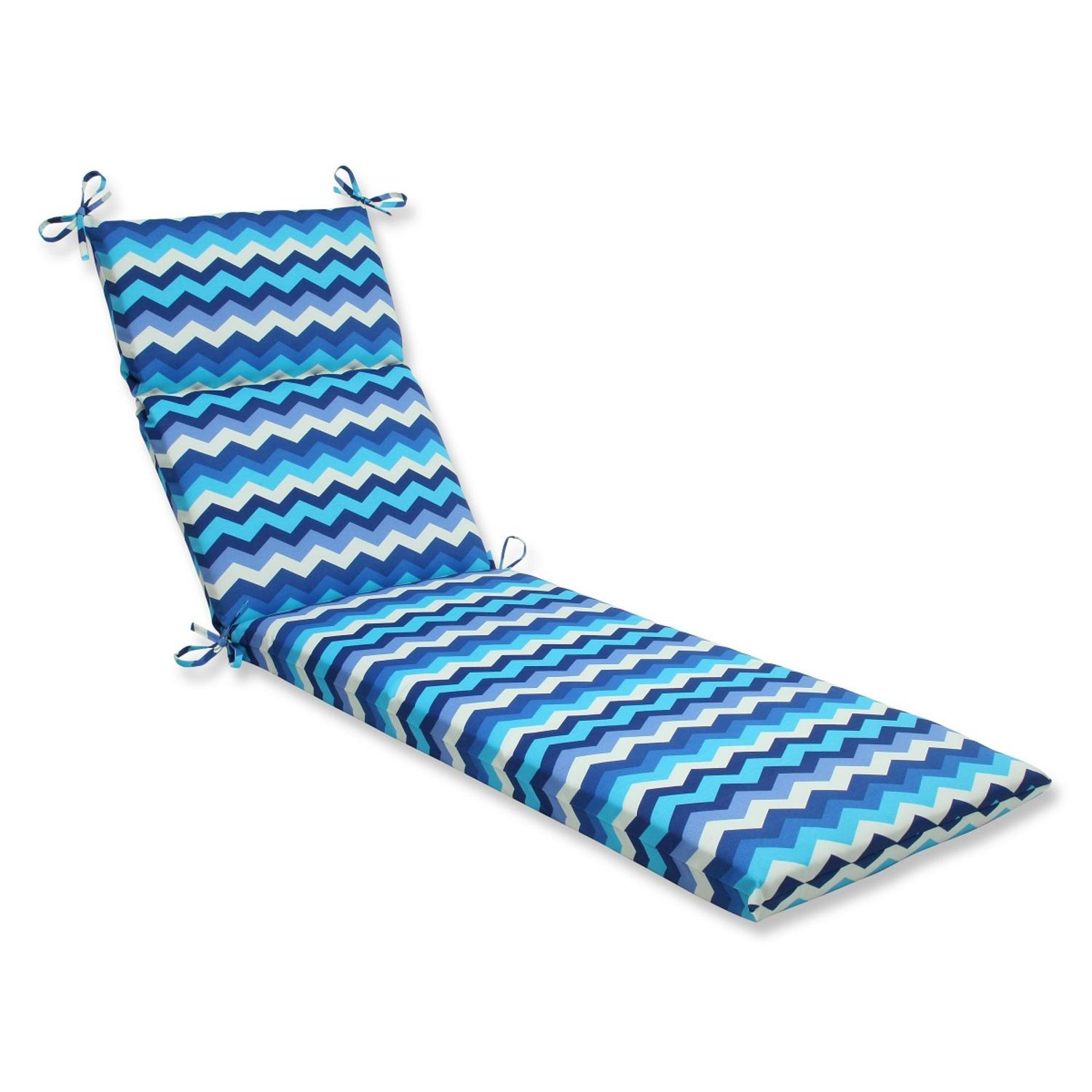 "72.5"" Rayas Azules Blue, Navy and White Chevron Striped Outdoor Patio Chaise Lounge Cushion"