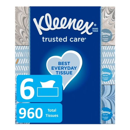 Kleenex Everyday Facial Tissues, 160 Tissues per Flat Box, Pack of (Ridge Tissue)