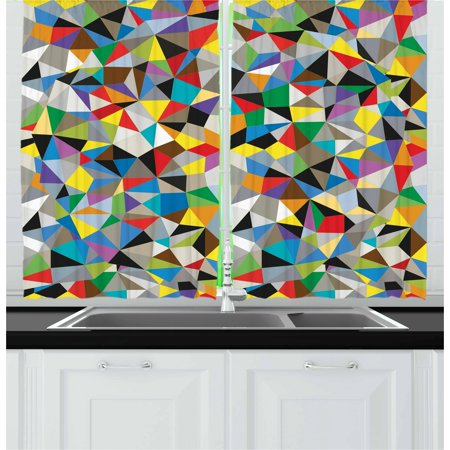 Abstract Curtains 2 Panels Set, Geometric Chaos Triangular Mosaic Polygonal Fractal Contemporary Modern Design, Window Drapes for Living Room Bedroom, 55W X 39L Inches, Multicolor, by Ambesonne