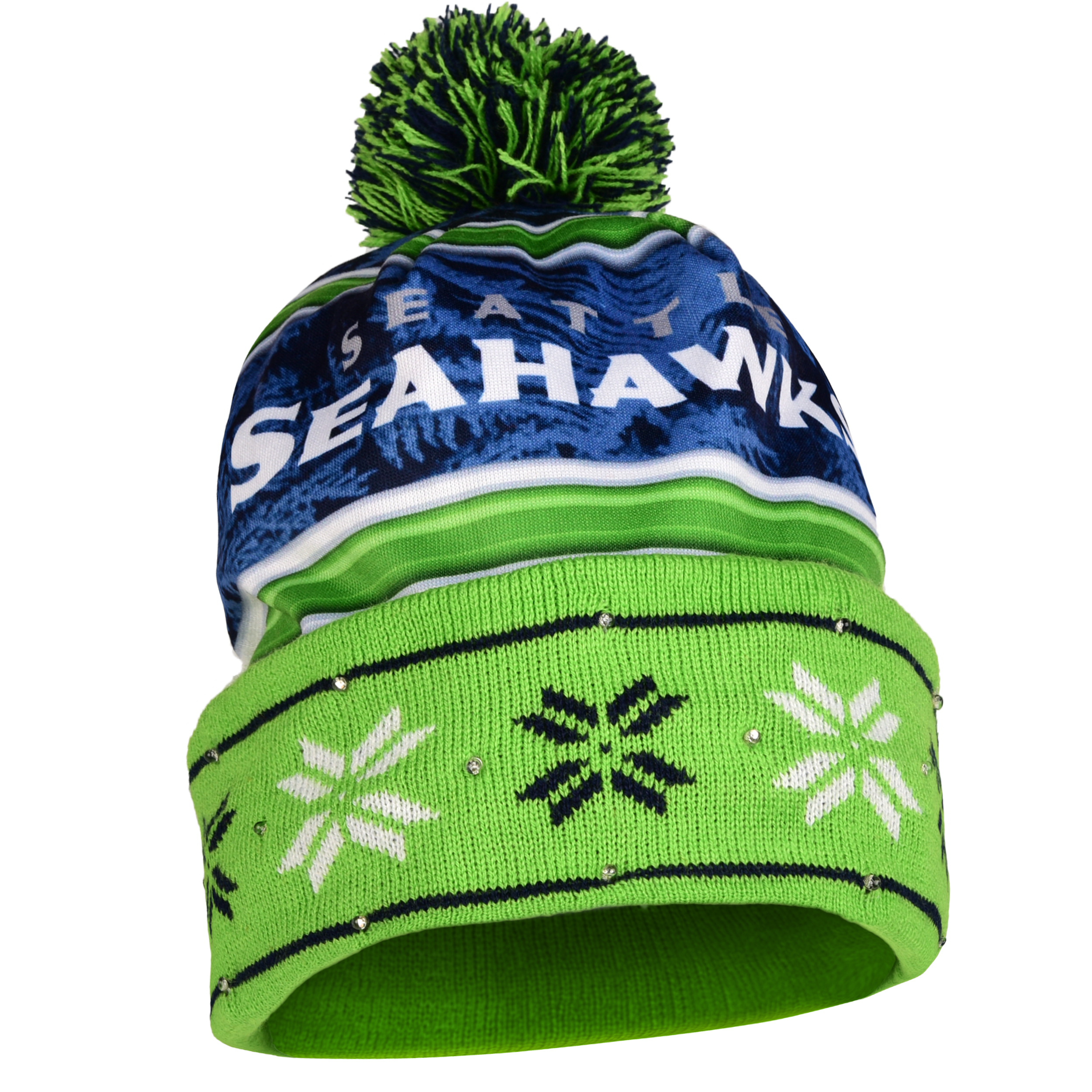 Seattle Seahawks Official NFL Team Beanie Stocking Stretch Knit Sock Hat by Forever Collectibles 680369