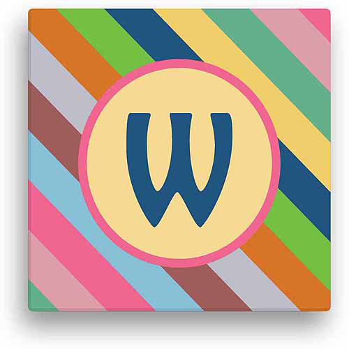 "Personalized Colorful Stripes, 12"" x 12"" Canvas"