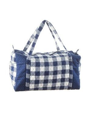 961a83f39c7d Product Image Darice Gingham Duffel Bag  Navy