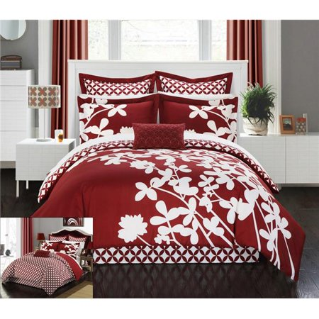 Chic Home CS1114-215-US Siris Reversible Scale Floral Design Printed with Diamond Pattern Reverse Comforter Set - Red - King & Large - 7 Piece