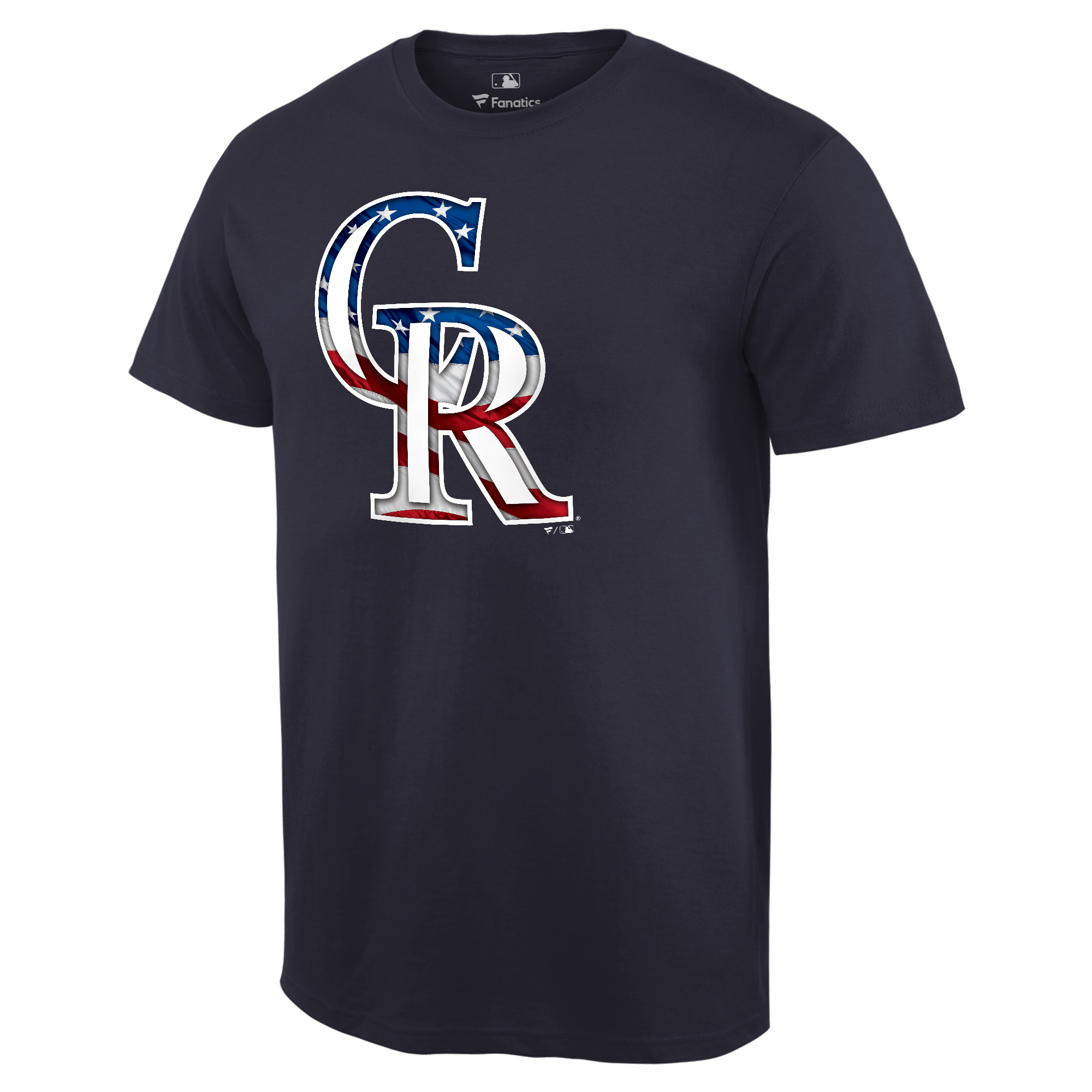 Colorado Rockies Fanatics Branded 2018 Stars & Stripes Big & Tall Primary Logo Banner Wave T-Shirt - Navy