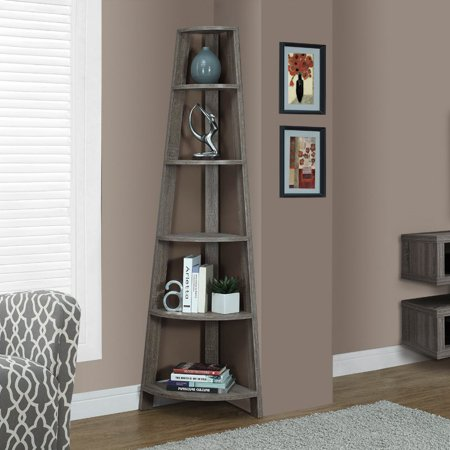 "Monarch 72"" 5-Shelf Corner Bookcase Etagere, Multiple Colors"