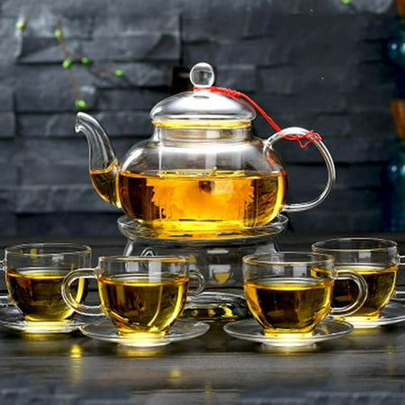 - CoreLife Glass Tea Set, 4 Borosilicate Glass Tea Cups and Saucers Set with Glass Tea Infuser Pot (24 oz Tea Pot / 3.7 oz Tea Cups)