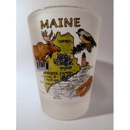 Maine Map Frosted Shot Glass