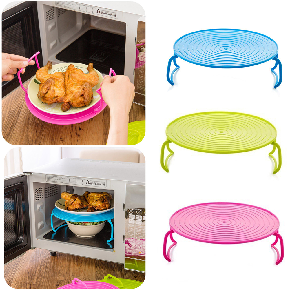 Silicone Microwave Steamer Rack - Foldable Insulation Steam Rack Oven Stand Holder Layered Dish Tray