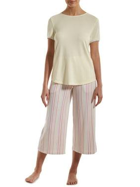 Nuit Rouge Women's High Low Hem T-Shirt and Wide Leg Pant Pajama Set