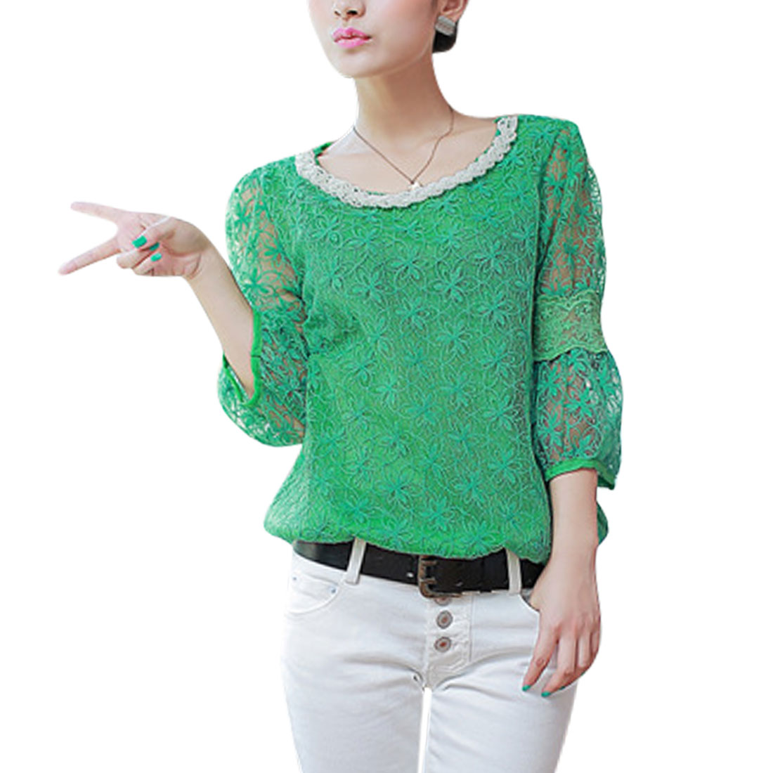Women's Beaded Upper Floral 3/4 Sleeves Pullover Organza Top