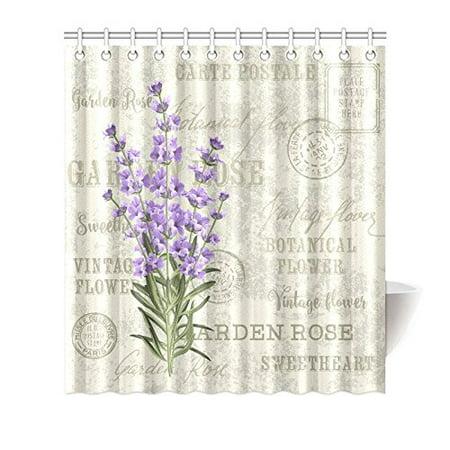 MKHERT Elegant Postcard Lavender Flowers Vintage Floral Decor Waterproof  Polyester Fabric Shower Curtain Bathroom Sets 66x72 inch