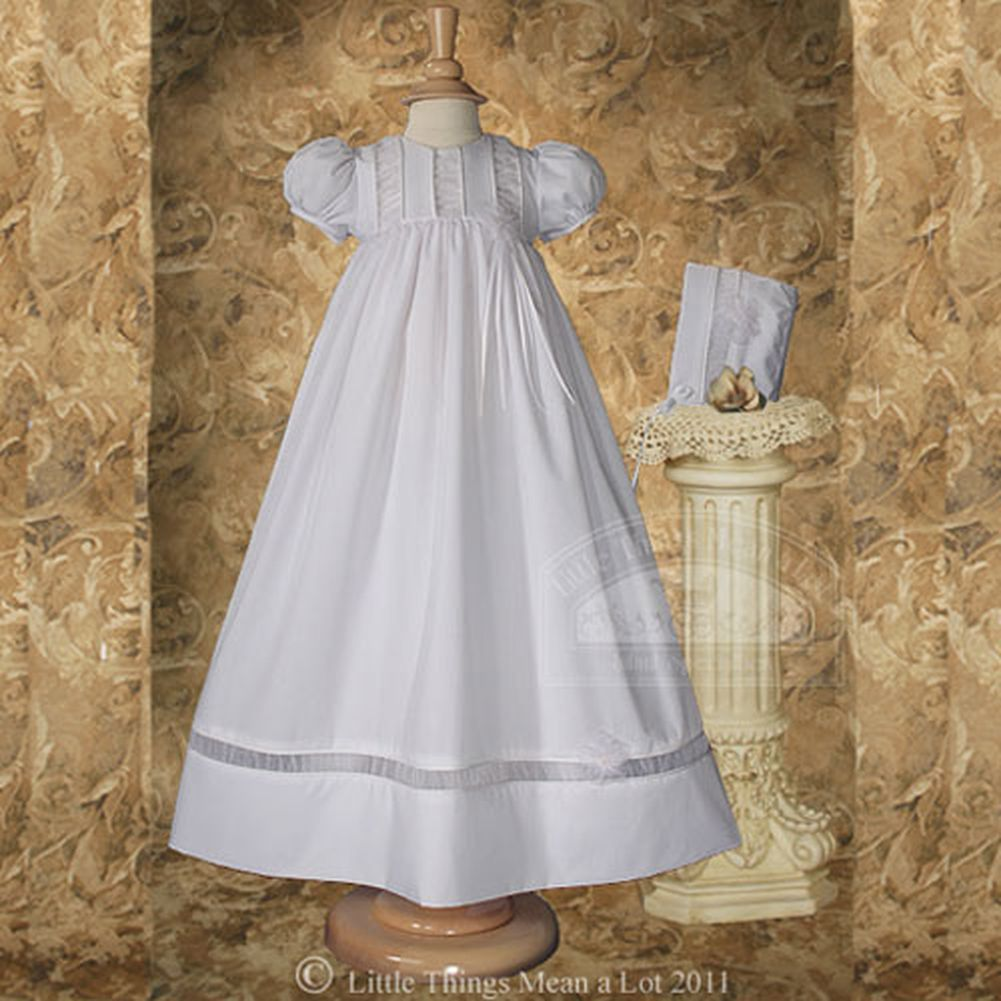 Baby Girls Size 0-12M White Organza Ruched Christening Baptism Gown