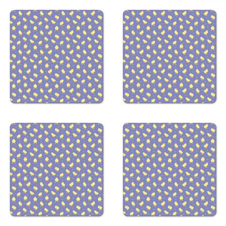 Birds Coaster Set of 4, Pattern of Chicks on a Meadow, Square Hardboard Gloss Coasters, Standard Size, Lavender Pale Yellow, by Ambesonne