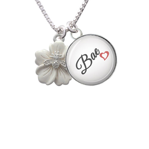 Bee on White Flower - Bae Glass Dome Necklace