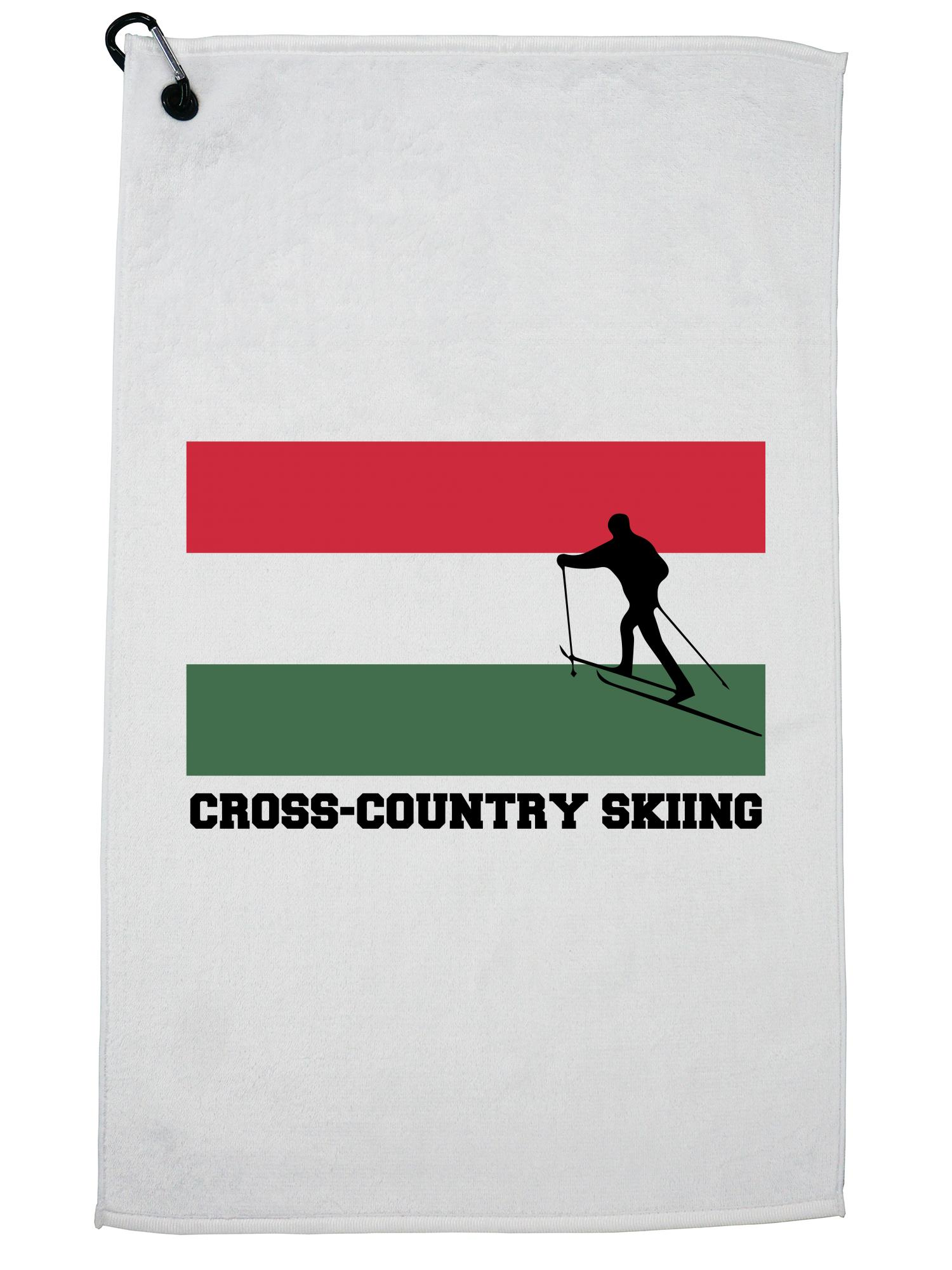 Hungary Olympic Cross-Country Skiing Flag Silhouette Golf Towel with Carabiner Clip by Hollywood Thread