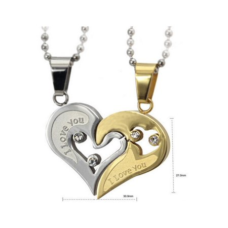 His and Hers Stainless Steel I Love You Heart Men Women Couple Pendant Necklace - Silver / Gold - His And Hers Pendants