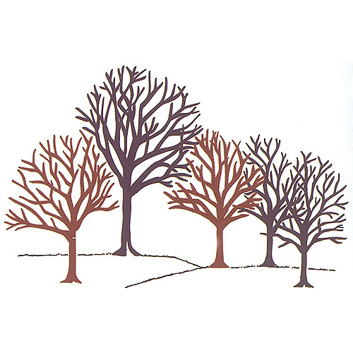 "Rubber Stampede Mounted Rubber Stamp 3.43""X2.75""-Winter Woods"