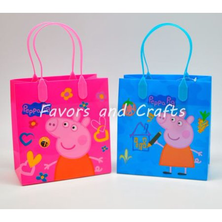 12 Peppa Pig Party Favor Bags Birthday Candy Treat Favors Gifts Plastic Bolsas De Recuerdo