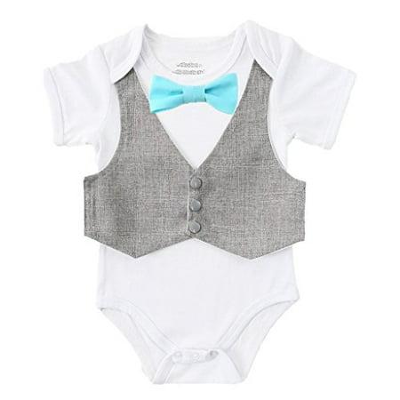 Noah's Boytique Baby Boys Vest and Bow Tie Outfit 6-12 M Grey and Aqua](Bonnie Outfit)