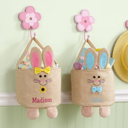 Personalized Jumpin' Bunny Burlap Easter Tote