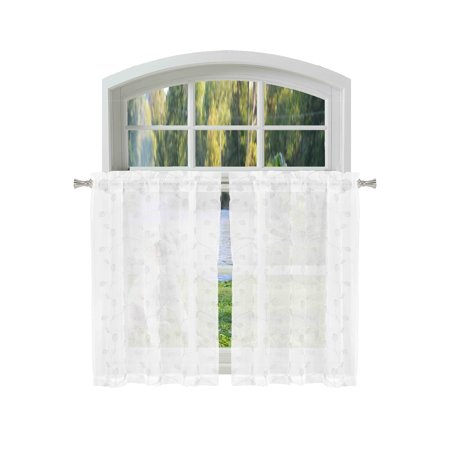 Bathroom and More KIRA Collection SHEER 2 Piece Window Curtain Café/Tier Set Pure White with Embroidered White and Metallic Silver Leaf Design (Pair (2) Tiers 24in L Each)