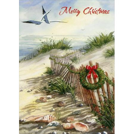 Red Farm Studios Fence Along Beach Sand Dunes Coastal Christmas Card